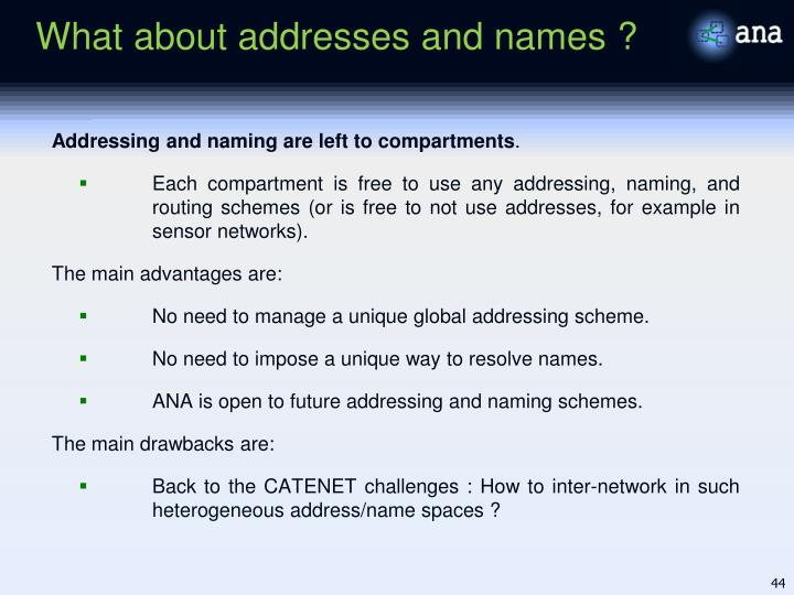 What about addresses and names ?
