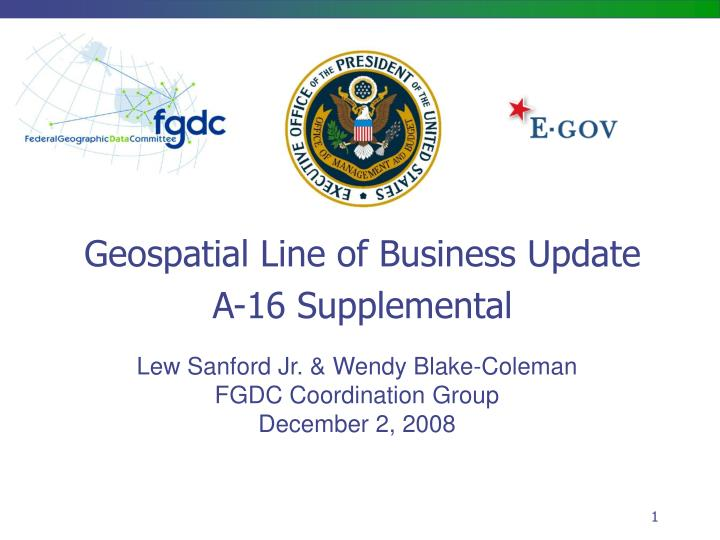 Geospatial Line of Business Update