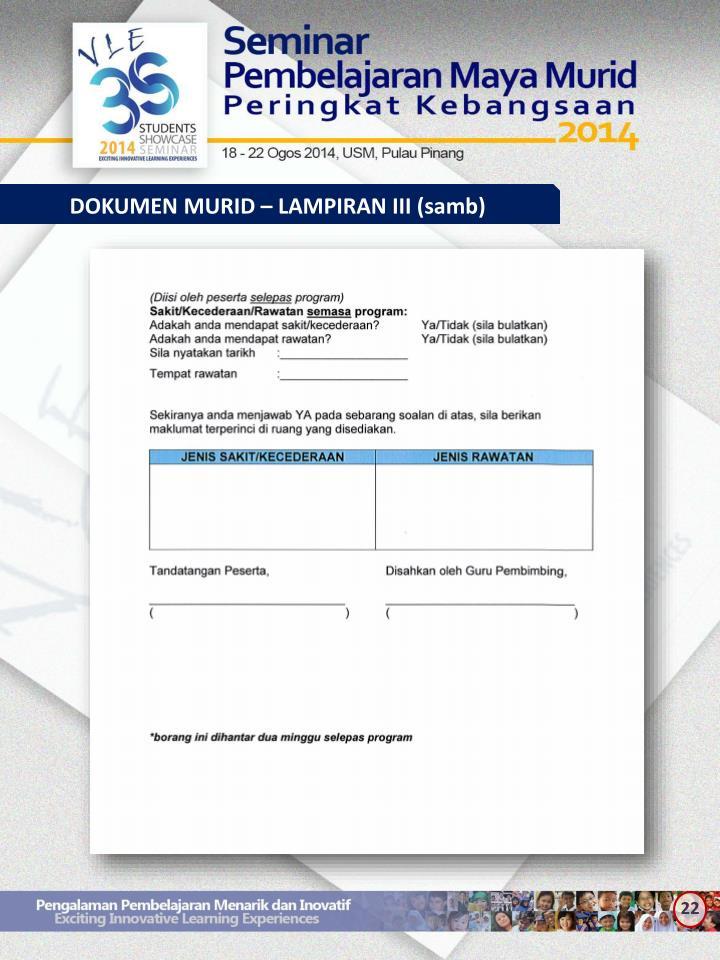 DOKUMEN MURID – LAMPIRAN III (