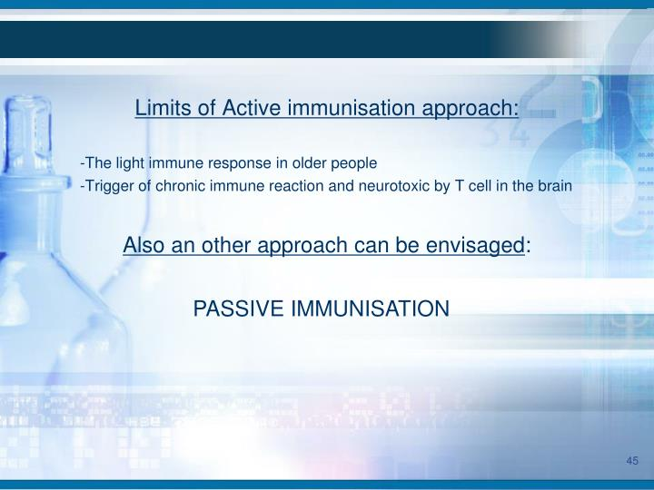 Limits of Active immunisation approach:
