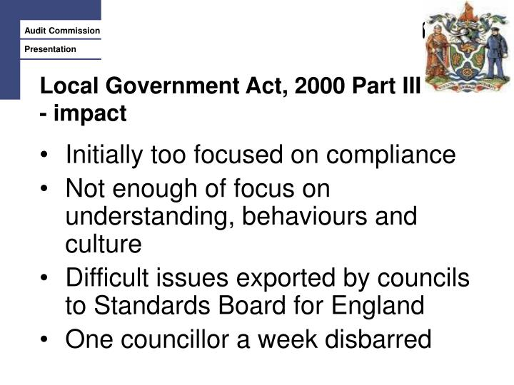 Local Government Act, 2000 Part III