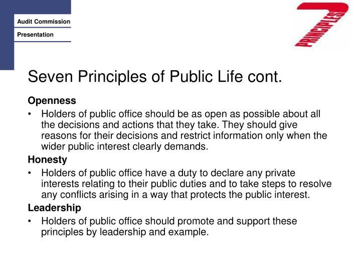 Seven Principles of Public Life cont.