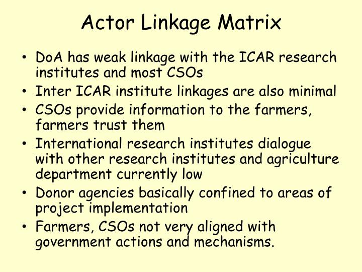 Actor Linkage Matrix