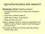 agricultural policy and research