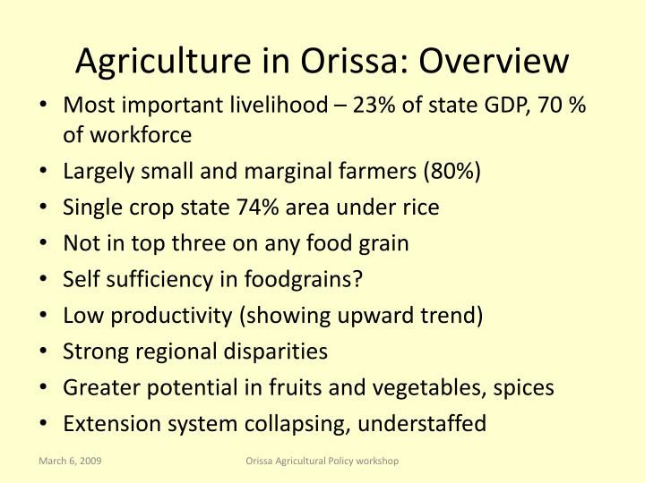 Agriculture in Orissa: Overview