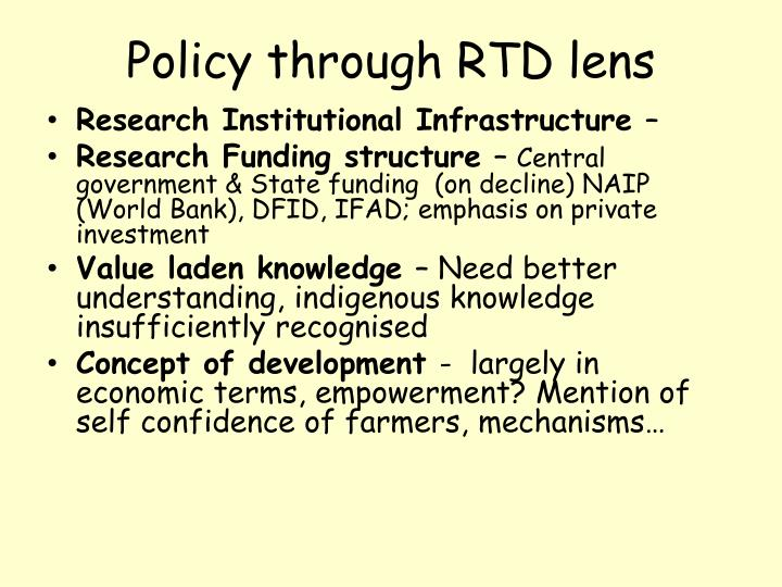 Policy through RTD lens