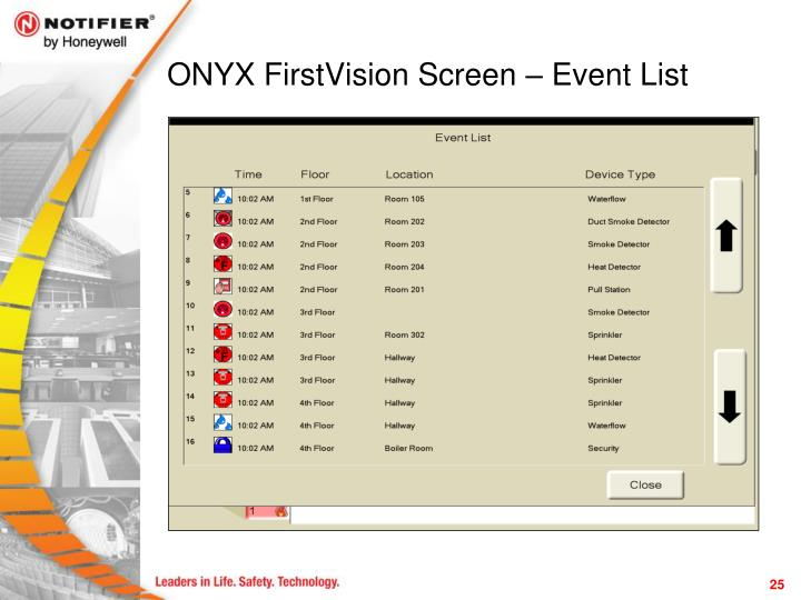ONYX FirstVision Screen – Event List