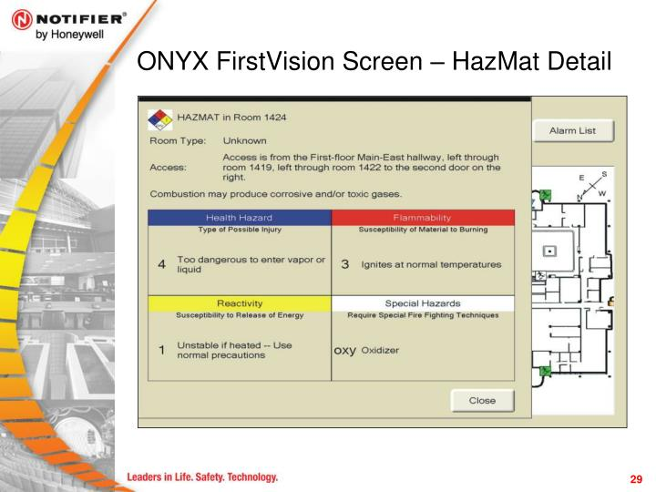 ONYX FirstVision Screen – HazMat Detail