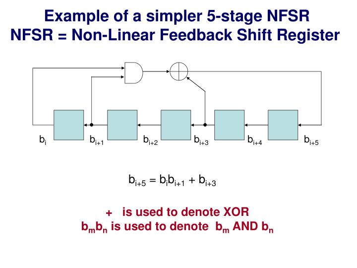 Example of a simpler 5-stage NFSR