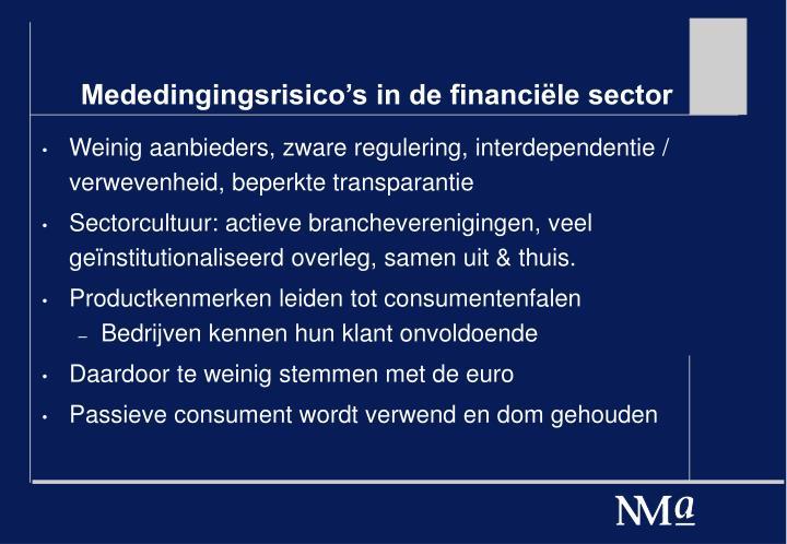 Mededingingsrisico's in de financiële sector