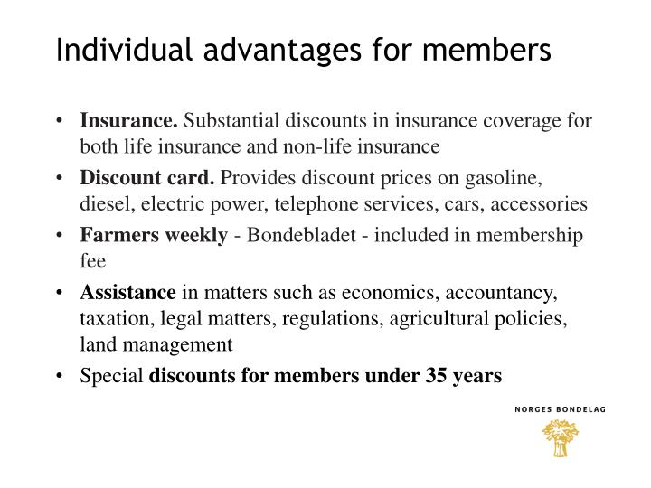 Individual advantages for members