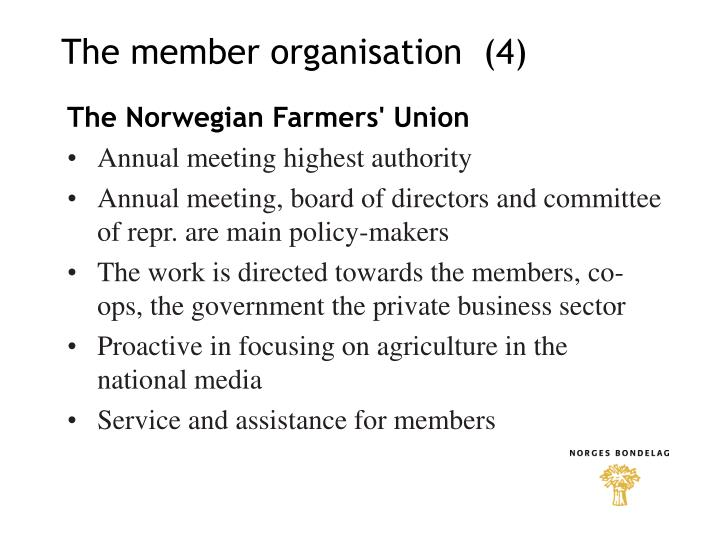 The member organisation  (4)