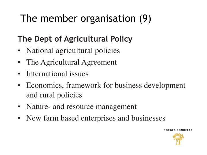 The member organisation (9)