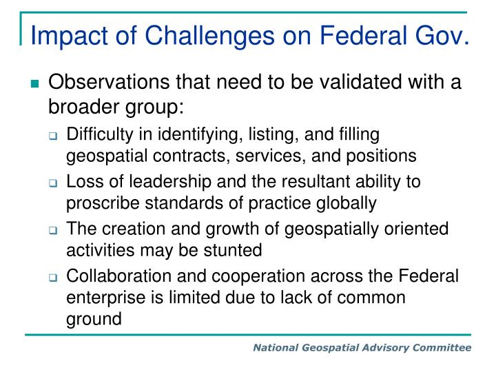 Impact of Challenges on Federal Gov.