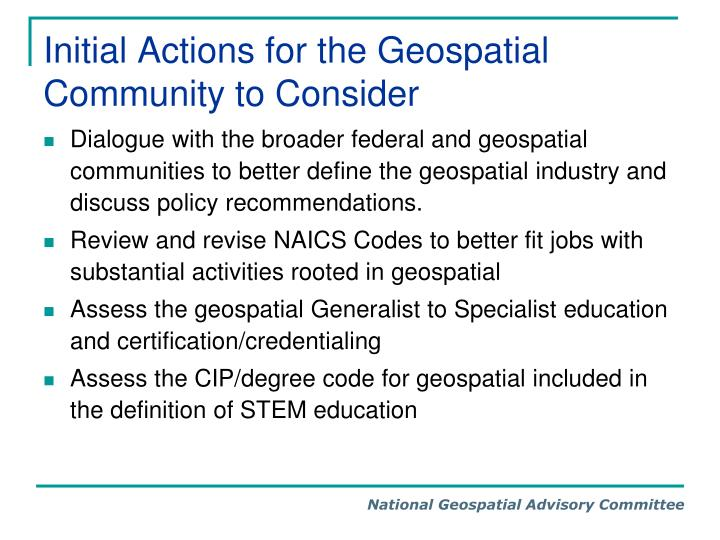 Initial Actions for the Geospatial Community to Consider