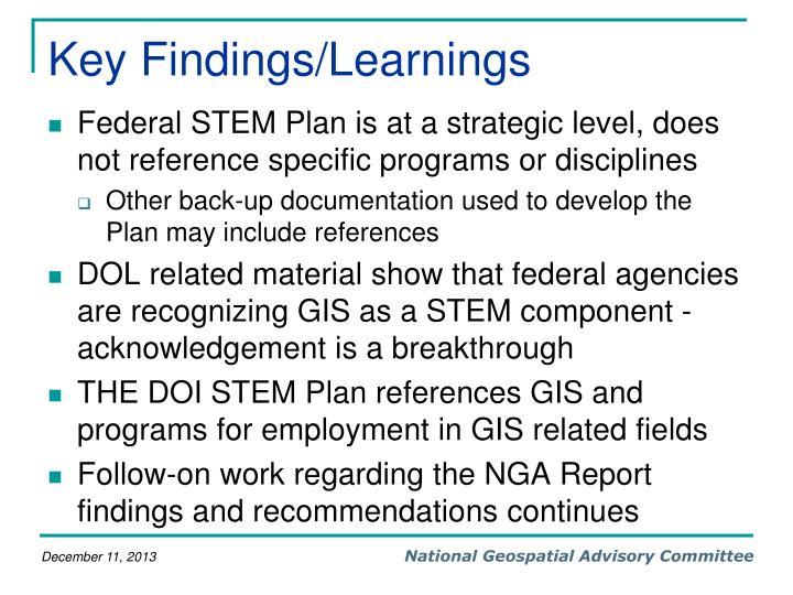 Key Findings/Learnings