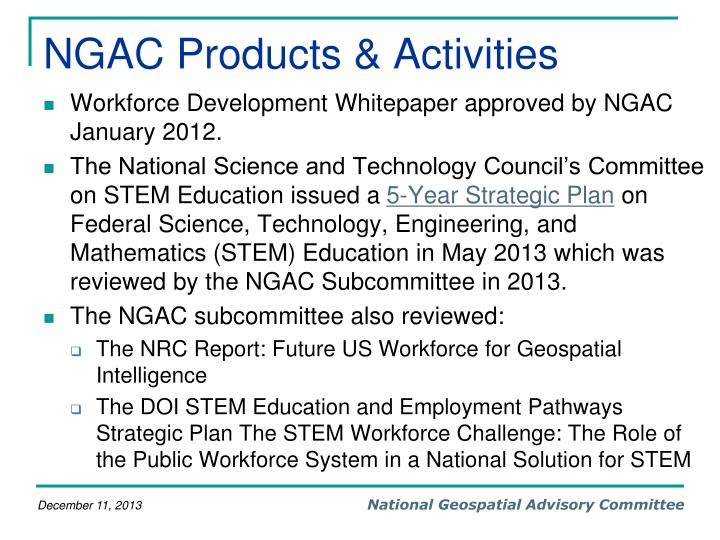 NGAC Products & Activities