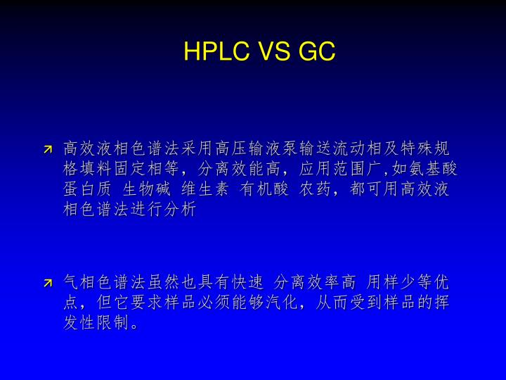 HPLC VS GC
