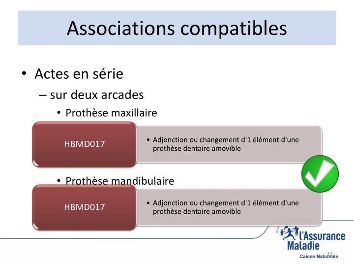 Associations compatibles