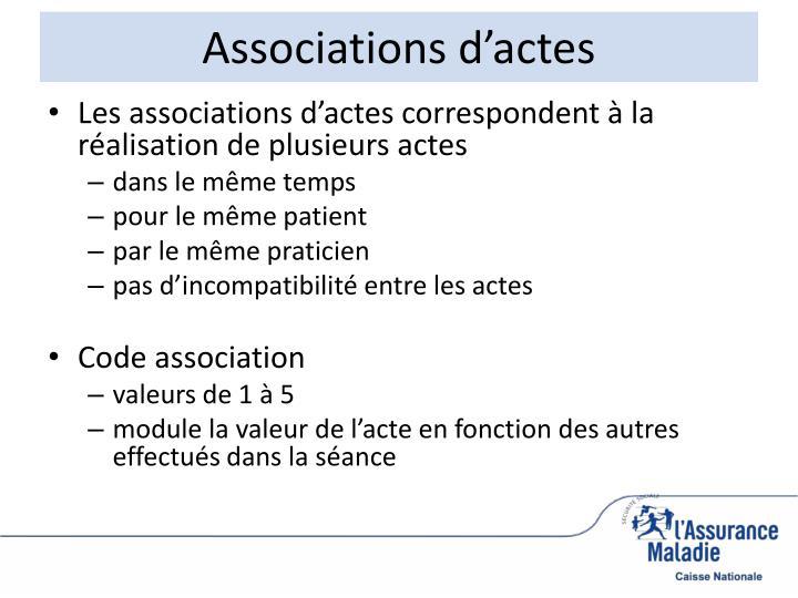 Associations d'actes