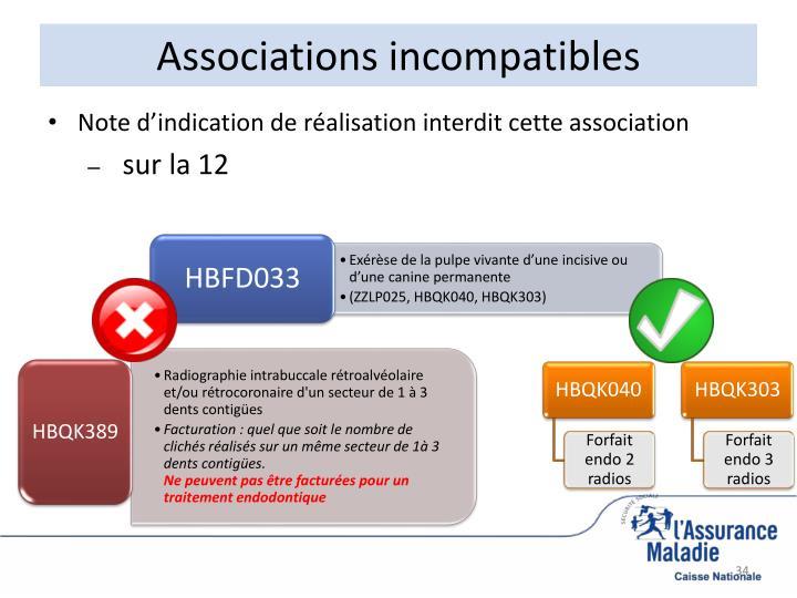 Associations incompatibles