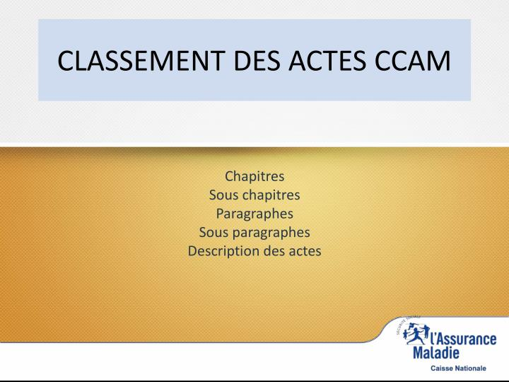 CLASSEMENT DES ACTES CCAM