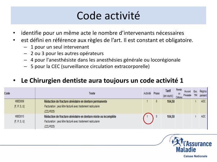 Code activité