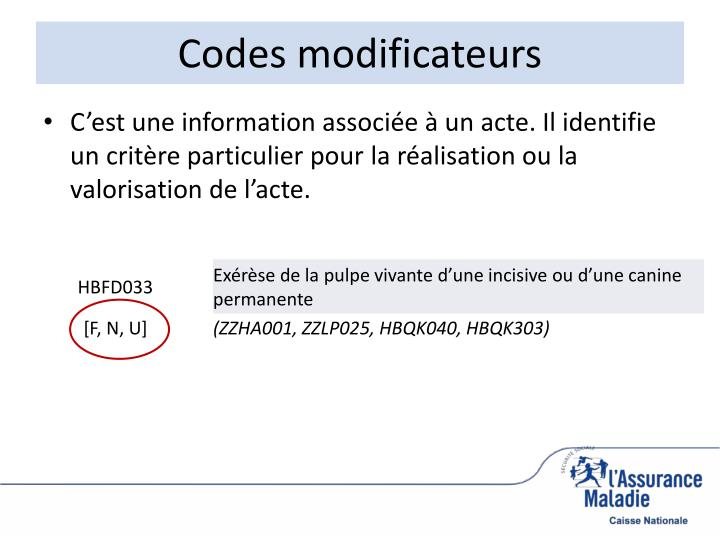 Codes modificateurs