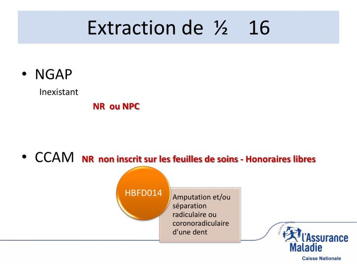 Extraction de  ½    16