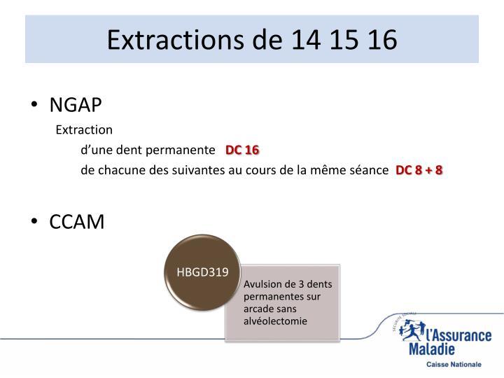Extractions de 14 15 16