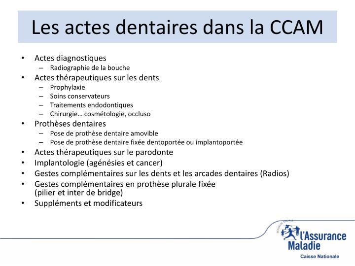 Les actes dentaires dans la CCAM