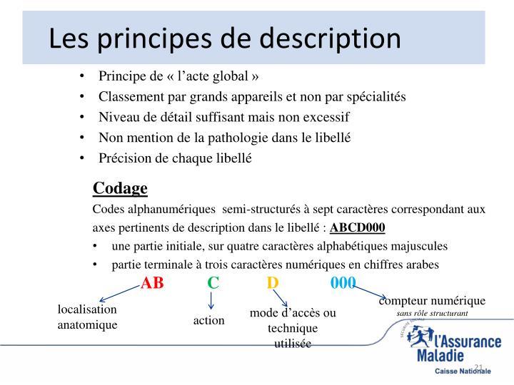 Les principes de description