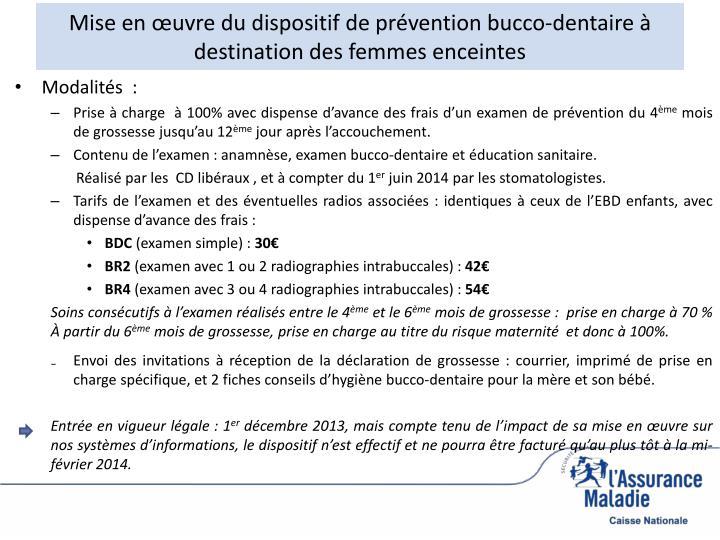 Mise en œuvre du dispositif de prévention bucco-dentaire à destination des femmes enceintes