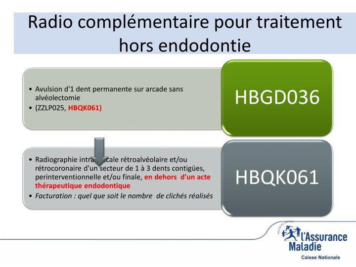 Radio complémentaire pour traitement hors endodontie