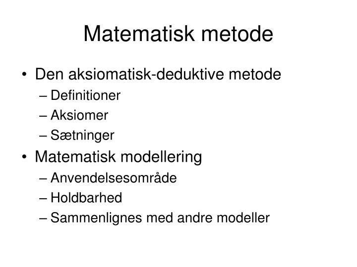 Matematisk metode