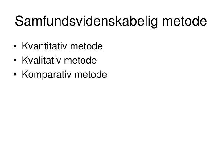 Samfundsvidenskabelig metode