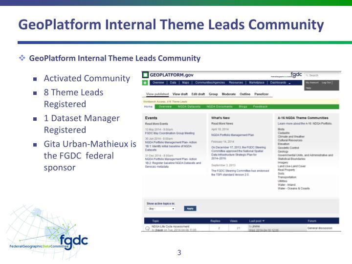 GeoPlatform Internal Theme Leads Community