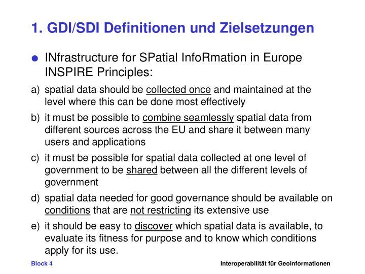 1. GDI/SDI Definitionen und Zielsetzungen