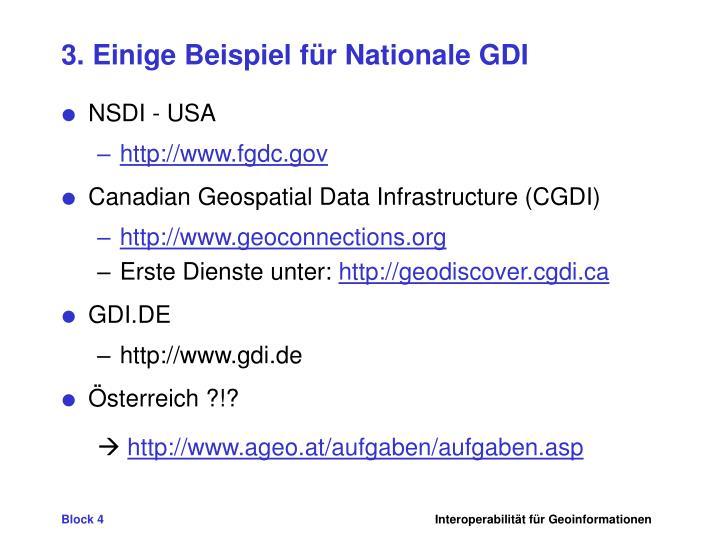 3. Einige Beispiel für Nationale GDI