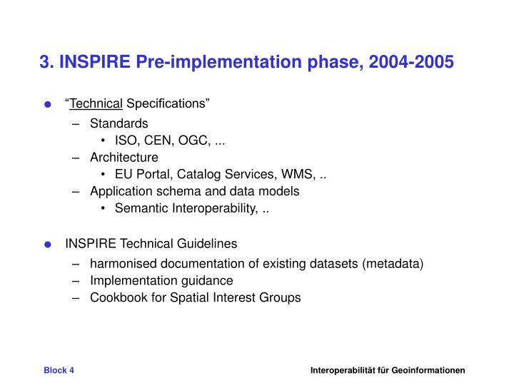 3. INSPIRE Pre-implementation phase, 2004-2005
