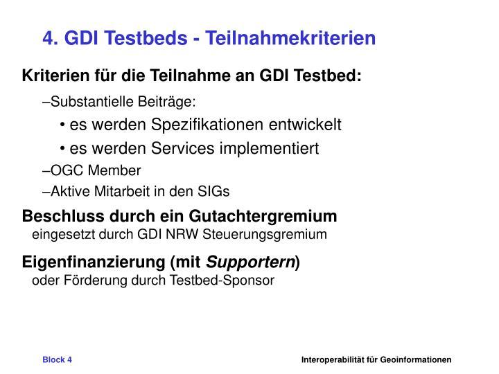4. GDI Testbeds - Teilnahmekriterien