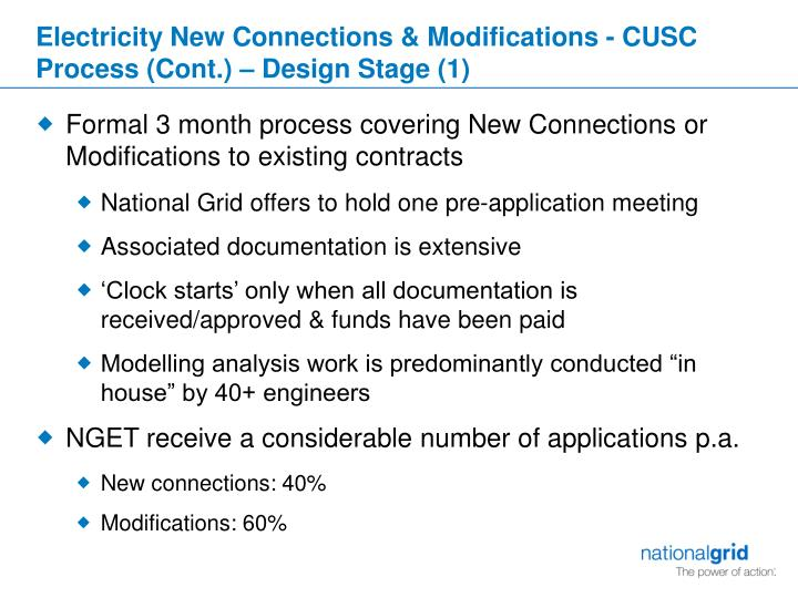 Electricity New Connections & Modifications - CUSC Process (Cont.) – Design Stage (1)