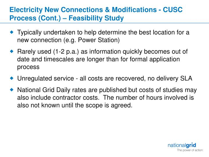 Electricity New Connections & Modifications - CUSC Process (Cont.) – Feasibility Study