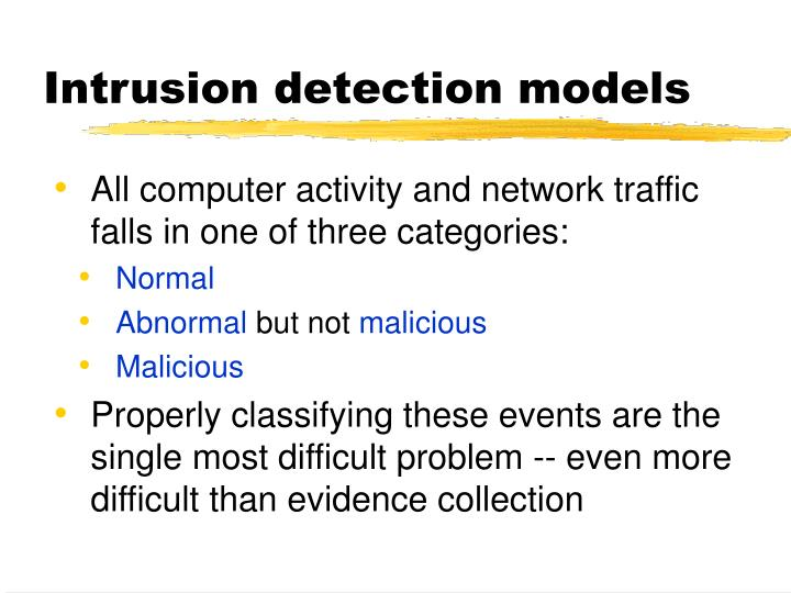 Intrusion detection models