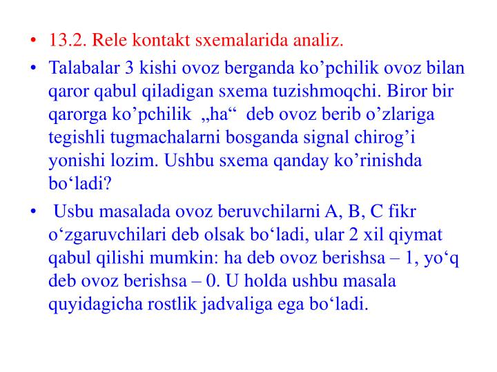 13.2. Rele kontakt sxemalarida analiz.