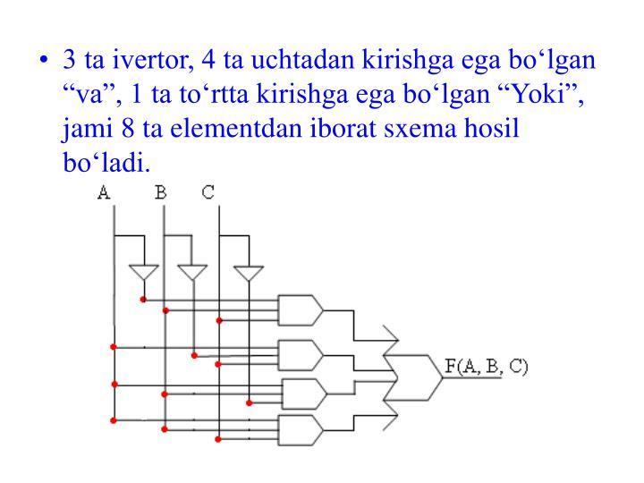 3 ta ivertor, 4 ta uchtadan kirishga ega bolgan va, 1 ta tortta kirishga ega bolgan Yoki, jami 8 ta elementdan iborat sxema hosil boladi.