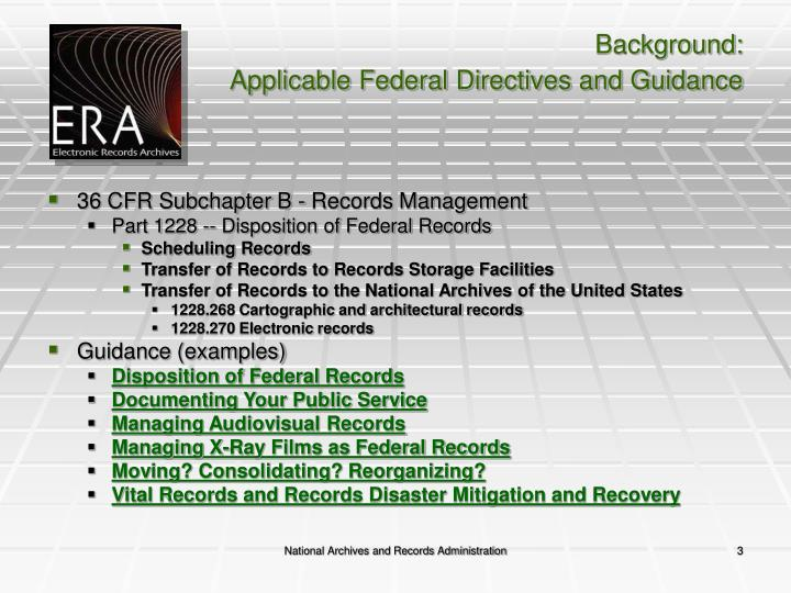 Background applicable federal directives and guidance