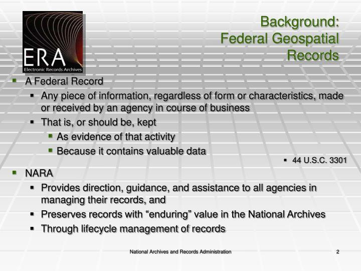 Background federal geospatial records