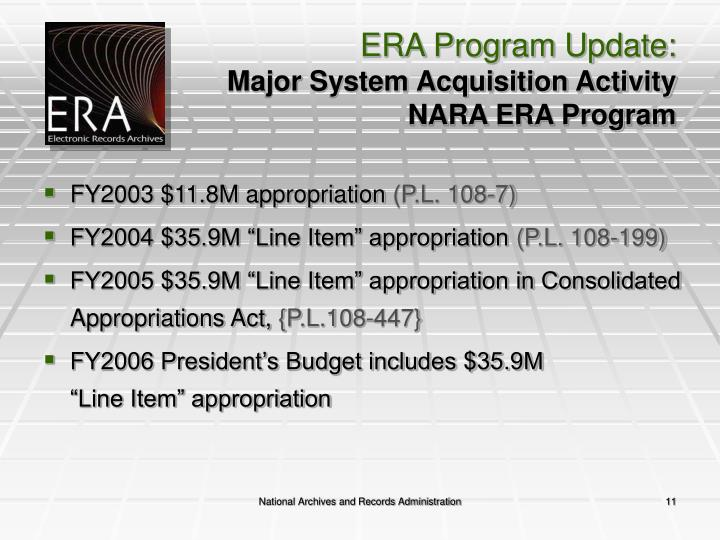 ERA Program Update: