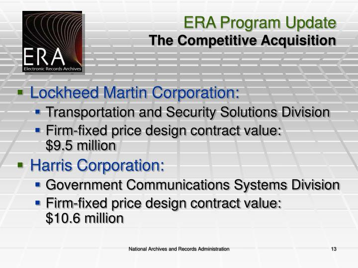 ERA Program Update